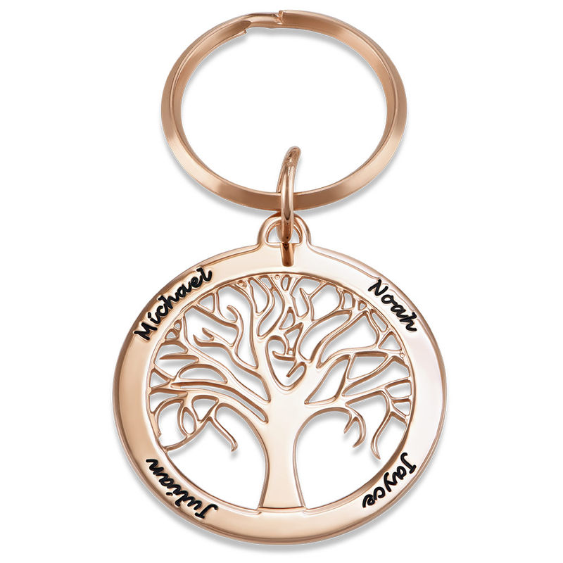 Personalised Family Tree Keyring in Rose Gold Plating