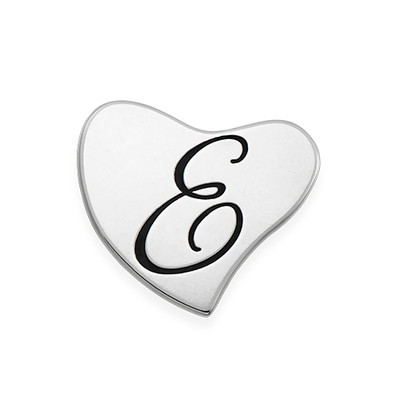 Floating Locket Plate - Silver Heart with Engraving - 1