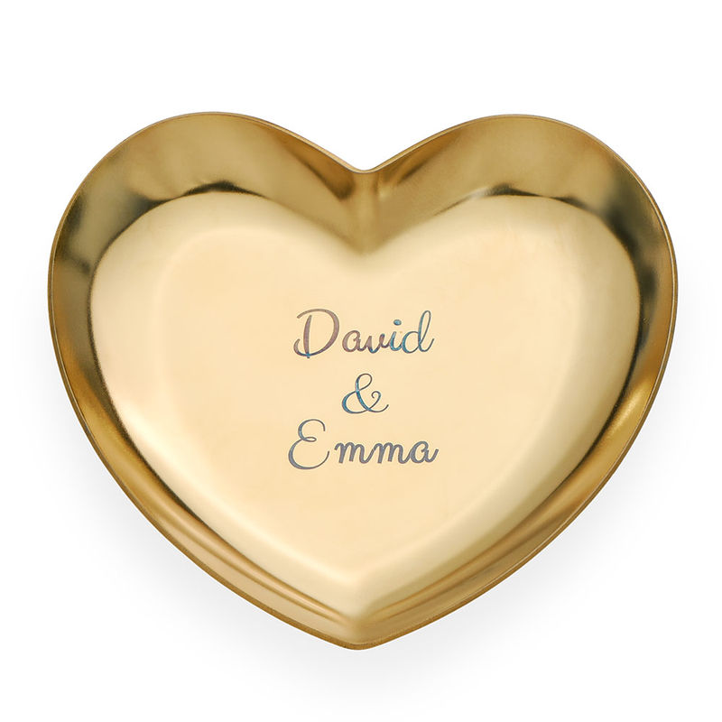 Personalised Heart Jewellery Tray in Gold Colour