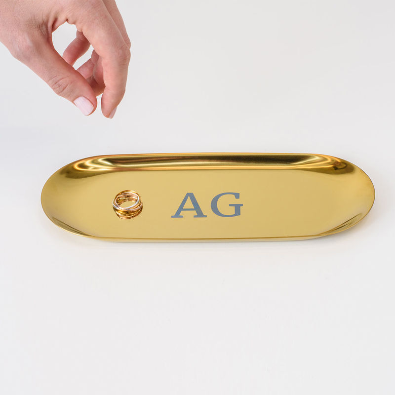 Personalised Oval Jewellery Tray in Gold Colour - 2