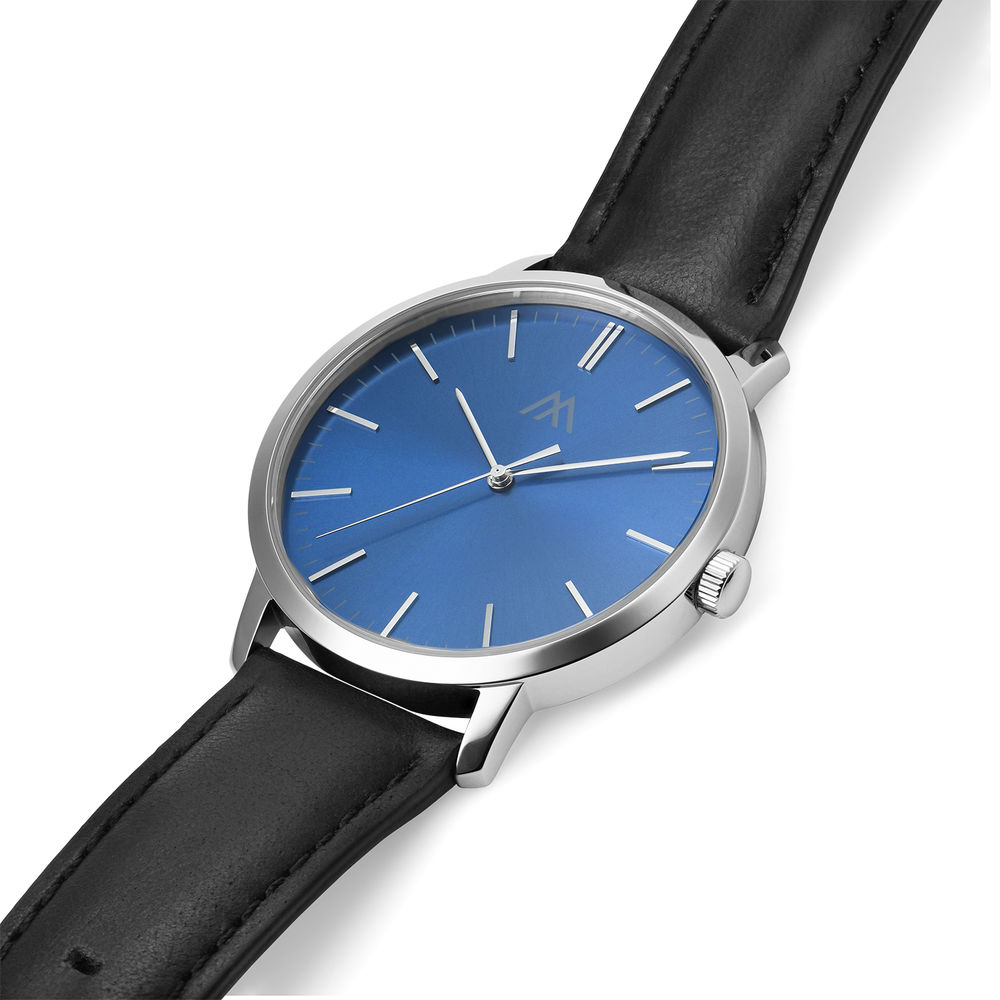 Hampton Minimalist Black Leather Band Watch for Men with Blue Dial - 1