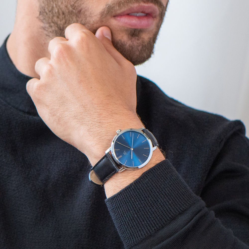Hampton Minimalist Black Leather Band Watch for Men with Blue Dial - 6