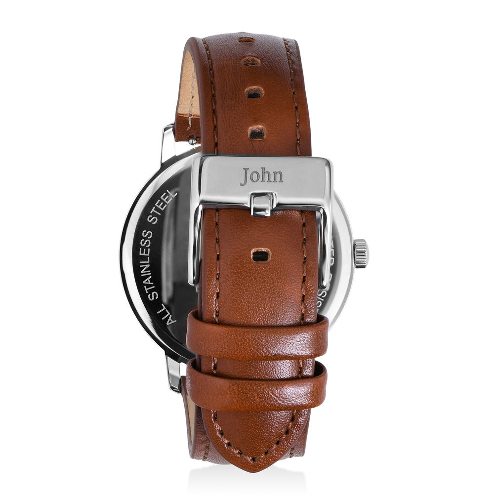 Hampton Minimalist Brown Leather Band Watch for Men with Blue Dial - 2