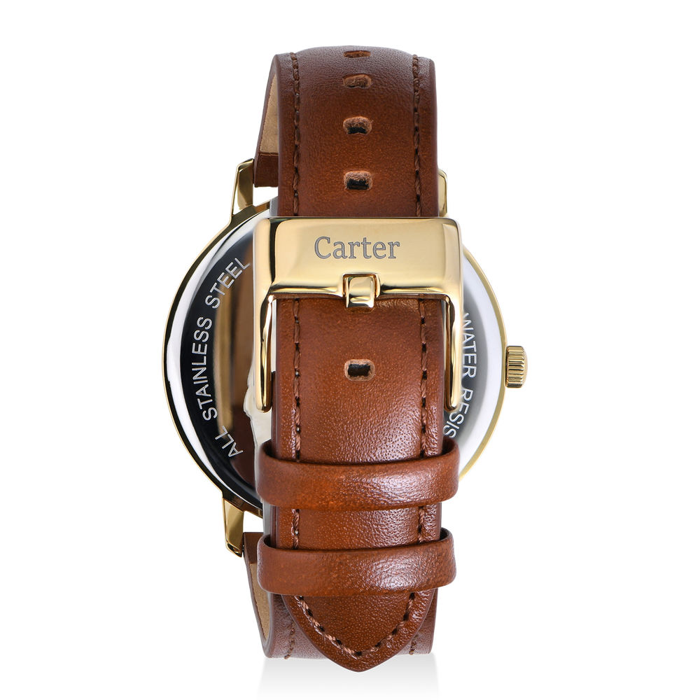Hampton Engraved Minimalist Watch for Men with Brown Leather Strap - 2