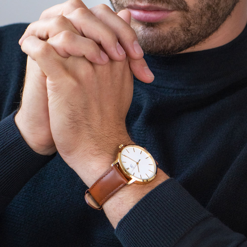Hampton Engraved Minimalist Watch for Men with Brown Leather Strap - 6