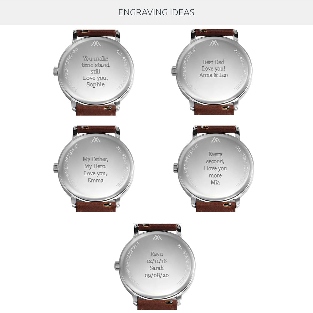 Hampton Engraved Minimalist Watch for Men with Brown Leather Strap - 8