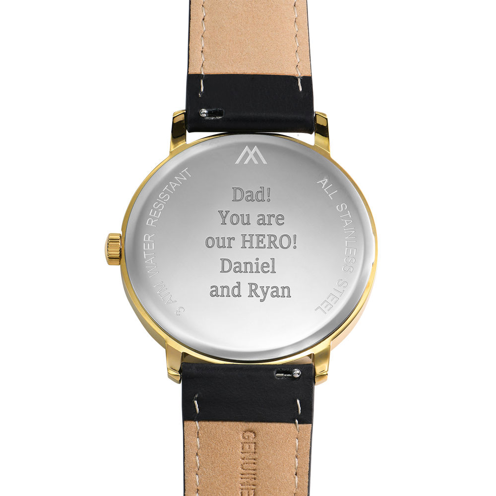 Hampton Engraved Minimalist Watch for Men with Black Leather Strap - 3
