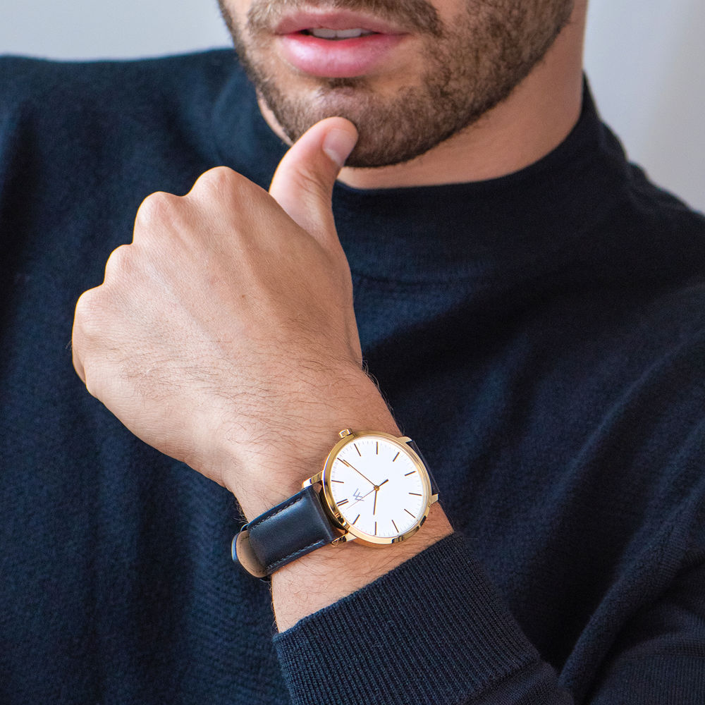 Hampton Engraved Minimalist Watch for Men with Black Leather Strap - 6