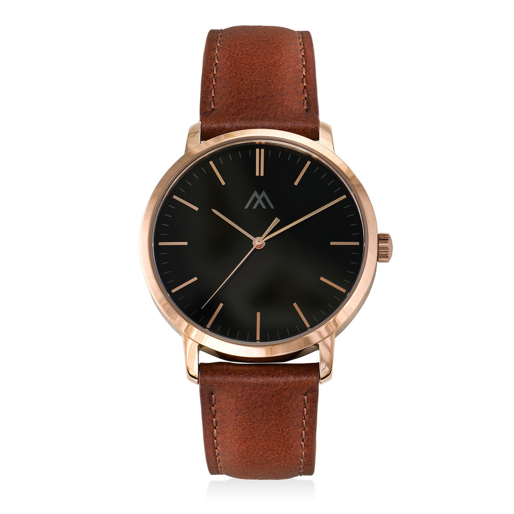 Hampton Personalised Minimalist Brown Leather Band Watch for Men