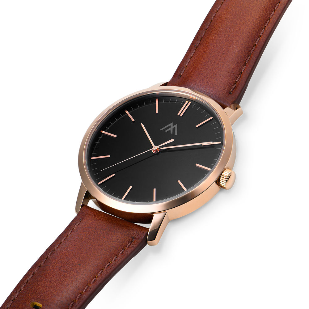 Hampton Personalised Minimalist Brown Leather Band Watch for Men - 1