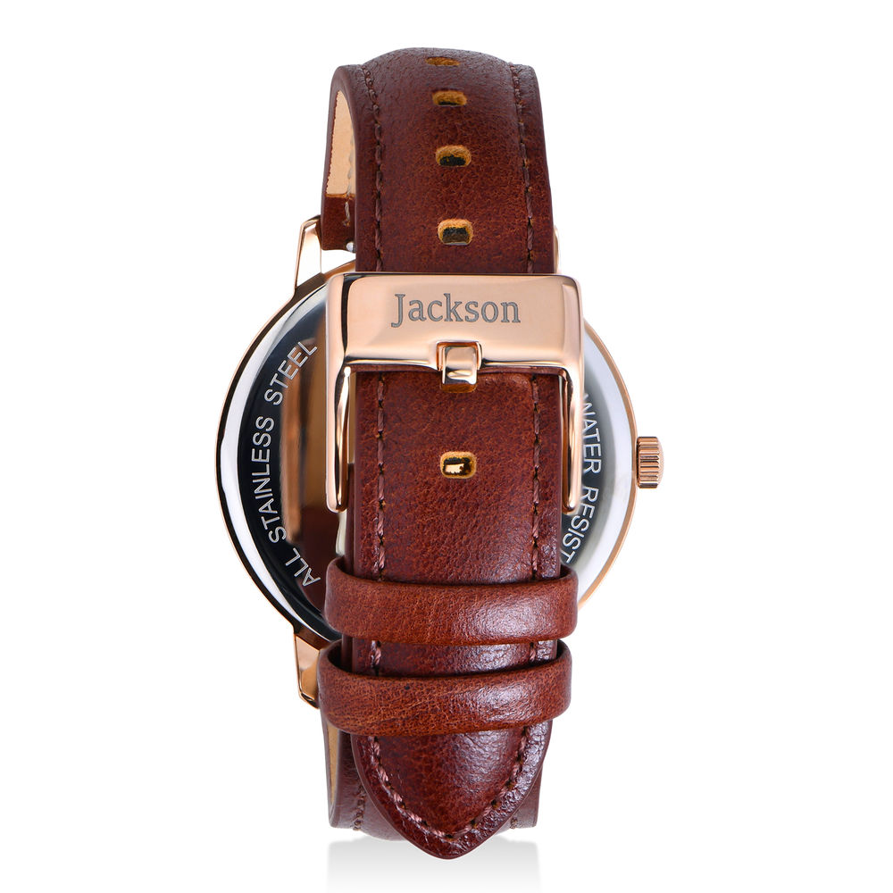 Hampton Personalised Minimalist Brown Leather Band Watch for Men - 2