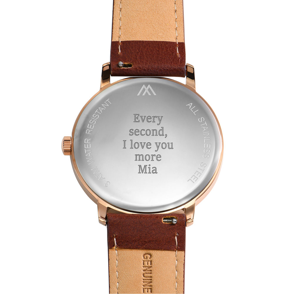 Hampton Personalised Minimalist Brown Leather Band Watch for Men - 3