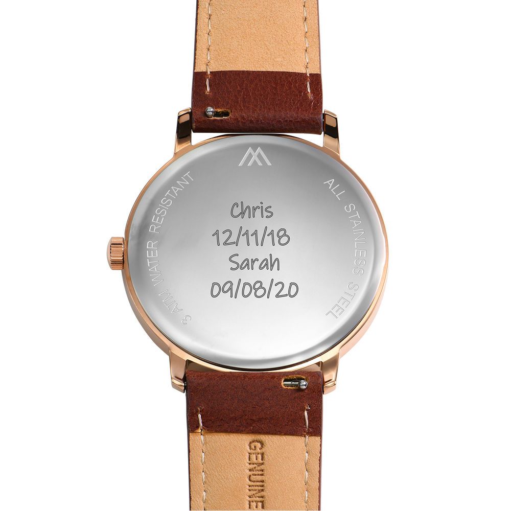 Hampton Personalised Minimalist Brown Leather Band Watch for Men - 4