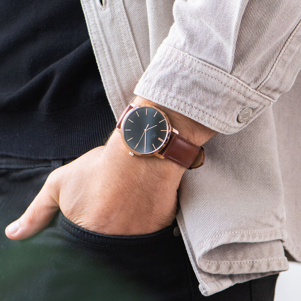 Hampton Personalised Minimalist Brown Leather Band Watch for Men - 7