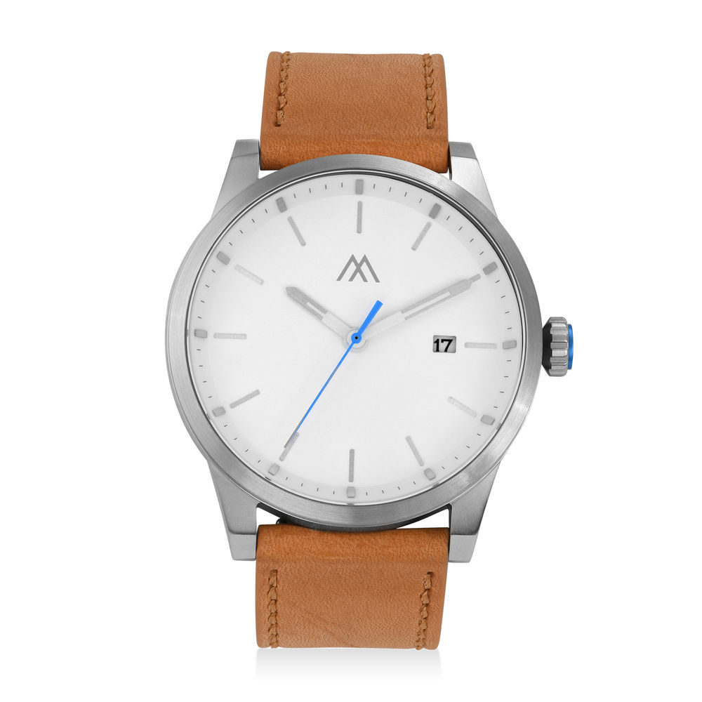 Odysseus Day Date Minimalist Camel Leather Band Watch