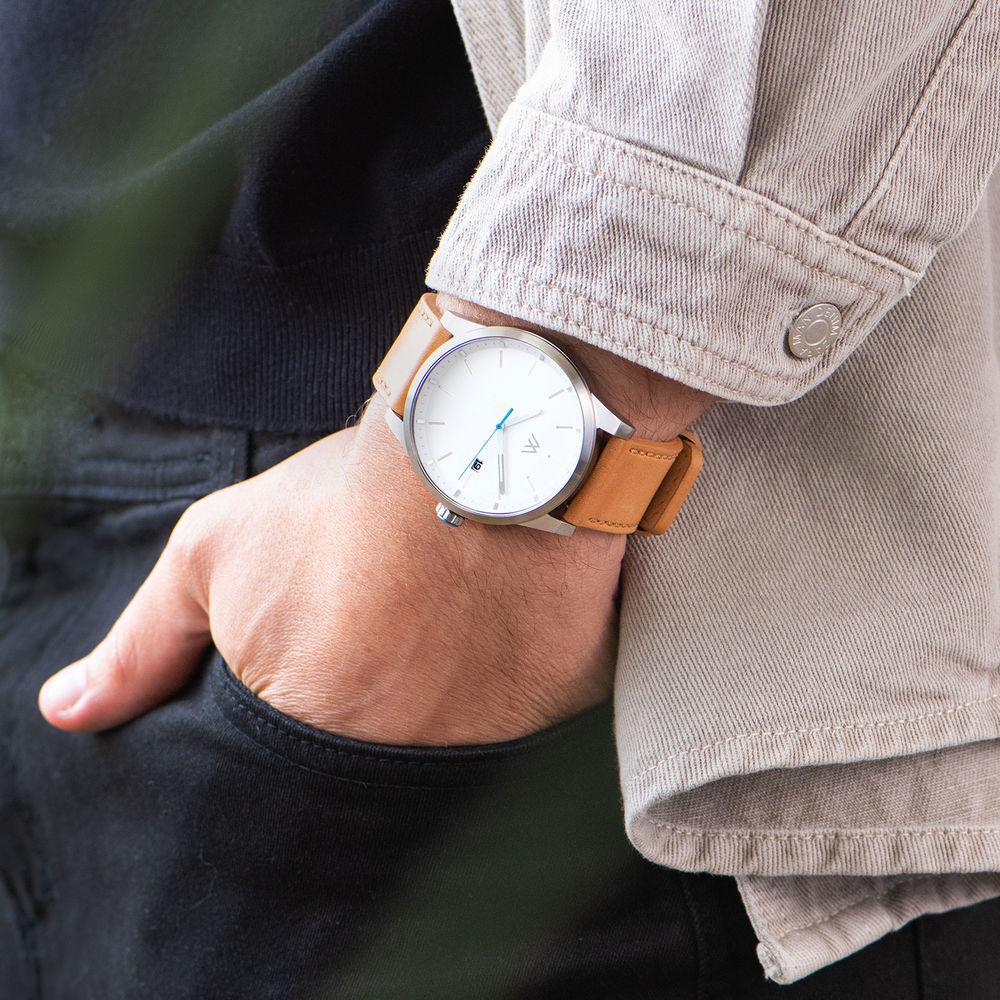 Odysseus Day Date Minimalist Camel Leather Band Watch - 7