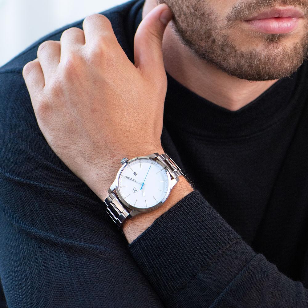Odysseus Day Date Minimalist Stainless Steel Watch - 5