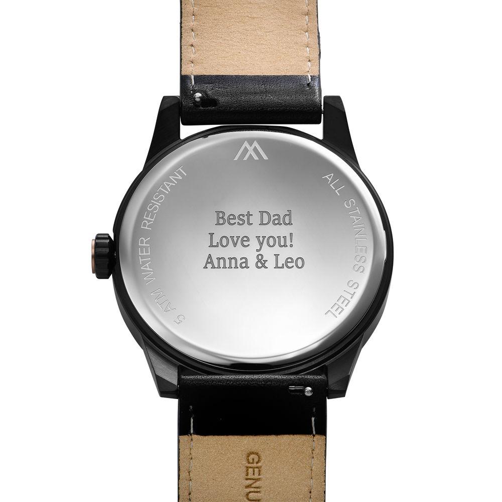 Odysseus Day Date Minimalist Leather Strap Watch in Black - 3