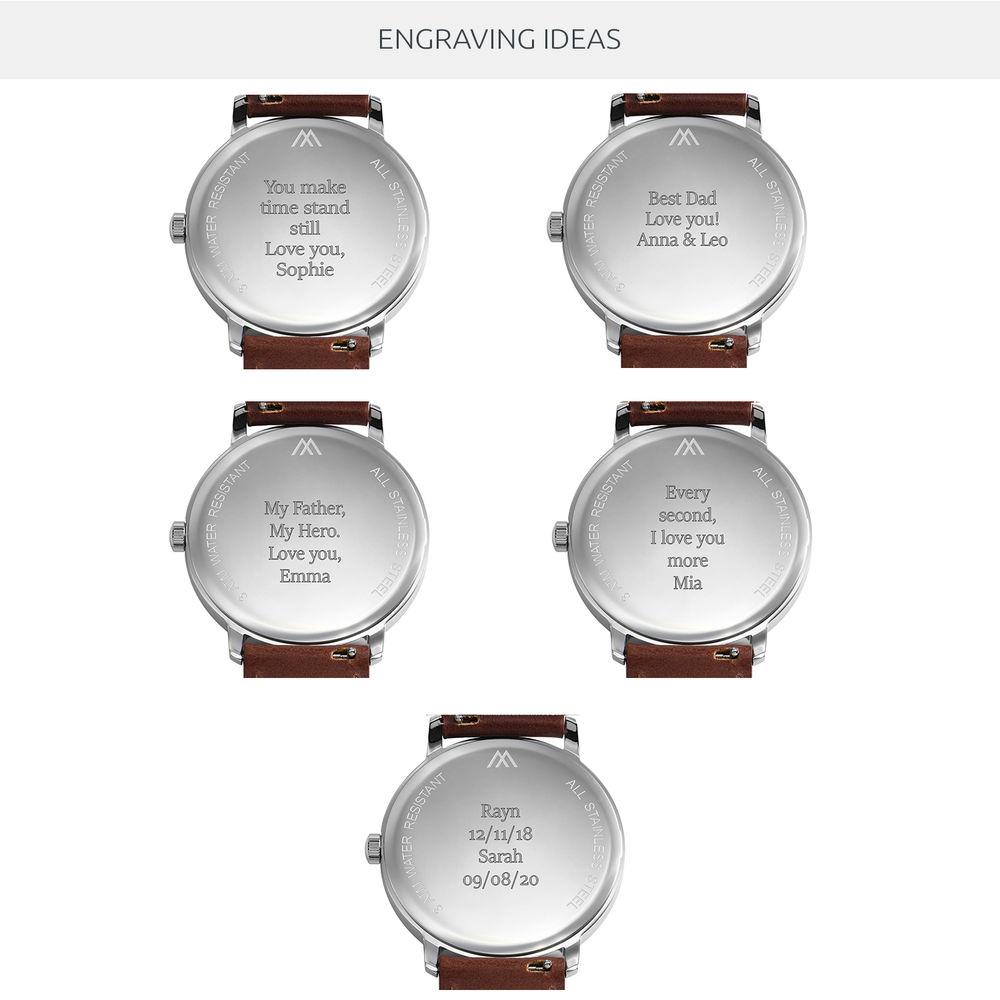 Odysseus Day Date Minimalist Leather Strap Watch in Black - 8