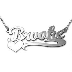 14ct White Gold Heart Name Necklace product photo