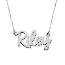 Personalised Cursive Name Necklace in 14ct White Gold product photo