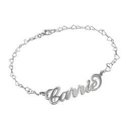 Silver Carrie Name Bracelet With a Heart Chain product photo