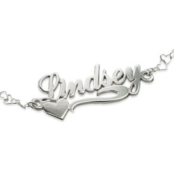 Side Heart Silver Name Bracelet product photo