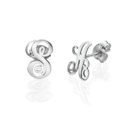 Silver Initial Stud Earrings product photo