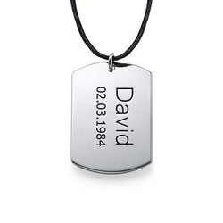 Sterling Silver Men's Dog Tag Necklace product photo
