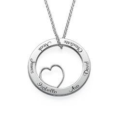 Family Love Circle Pendant Necklace in Sterling Silver product photo