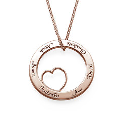 Family Love Circle Pendant Necklace - Rose Gold Plated product photo