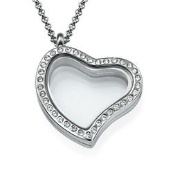 Silver Heart Locket with Crystals product photo