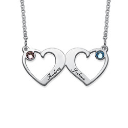 Side By Side Hearts Necklace with Birthstones product photo