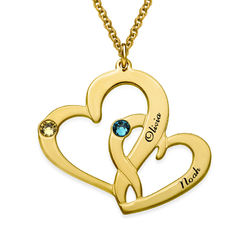 Engraved Two Heart Necklace with Gold Plating product photo