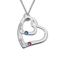 Floating Heart in Heart Necklace with Birthstones product photo