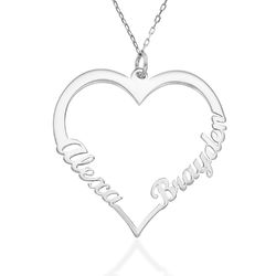 10ct White Gold Heart Necklace product photo