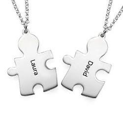 Personalised Couple's Puzzle Necklaces product photo
