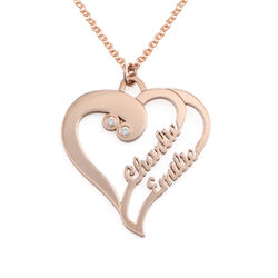 Two Hearts Forever One Necklace with Diamond in Rose Gold Plating product photo