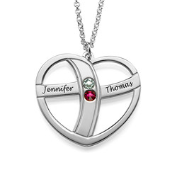 Engraved Valentine's Necklace with Birthstones product photo