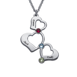 3 Heart Necklace with Birthstones product photo