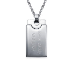 Custom Rectangular Dog Tag Necklace for Men in Stainless Steel product photo