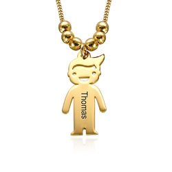 Gold Plated Mother's Necklace with Children Charms product photo