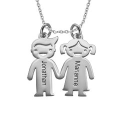 Sterling Silver Kids Holding Hands Necklace product photo