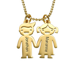 Kids Holding Hands Charms Necklace - Gold Plated product photo
