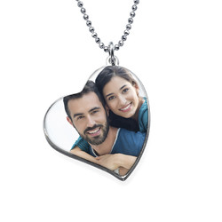 Tilted Heart Photo pendant in Silver product photo