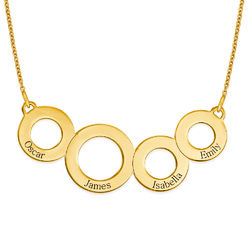 Engraved Circles Necklace with Gold Plating product photo