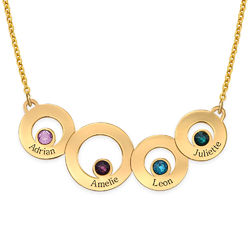 Gold Plated Circles Necklace with Engraving and Birthstones product photo