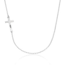 Sterling Silver Engraved Side Cross Necklace product photo