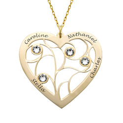 Heart Family Tree Necklace with Birthstones in Gold 10ct product photo