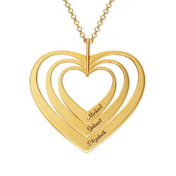 Family Hearts Necklace in Gold Plating product photo